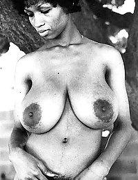 Sweet Sylvia McFarland shows her huge black natural breasts
