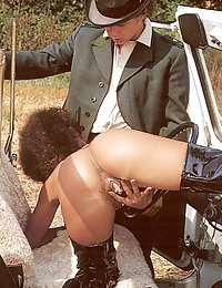 Seventies ebony lady fucked by a big hunter cock outdoor