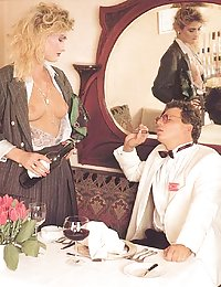 Horny seventies lady pleasing two cocks before a wedding